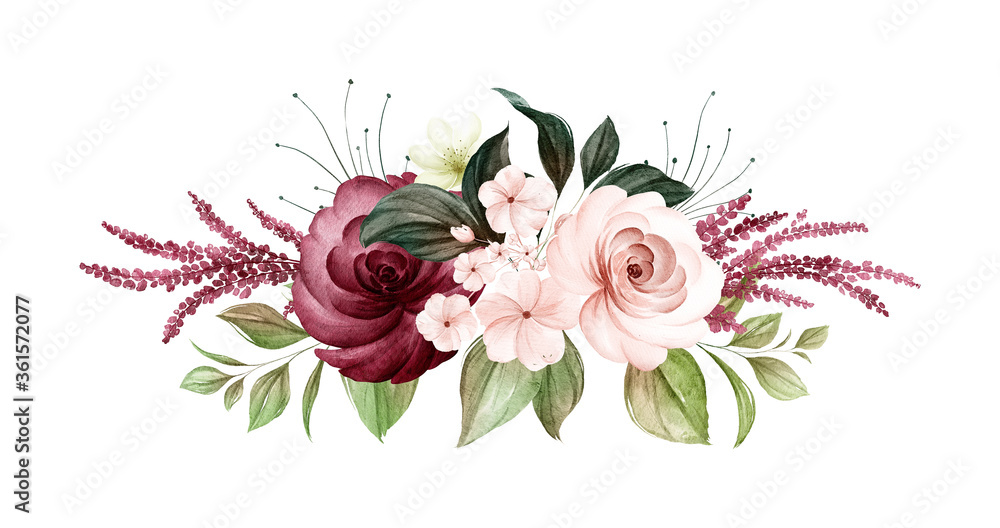 Fototapeta Watercolor bouquet of soft brown and burgundy roses and leaves. Botanic decoration illustration for wedding card, fabric, and logo composition