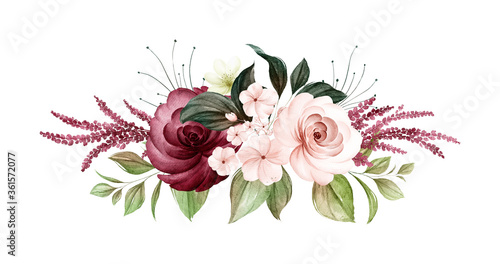 Obraz Watercolor bouquet of soft brown and burgundy roses and leaves. Botanic decoration illustration for wedding card, fabric, and logo composition - fototapety do salonu