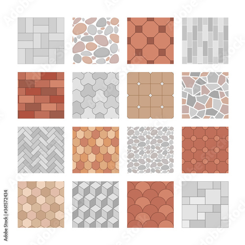 Vector set of seamless pavement textures Canvas Print