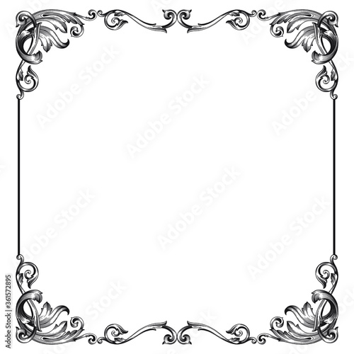 Fényképezés Vintage Ornament Element in baroque style with filigree and floral engrave the best situated for create frame, border, banner