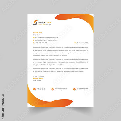 Photographie Creative and Clean Letterhead template design business for your project in minimalist style,Stationery Design, Vector illustration
