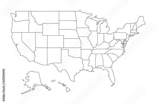 Super High detail of USA map. Outline map of America on white background. Vector Illustration.