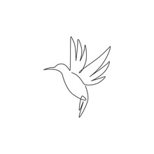 One Continuous Line Drawing Of Cute Hummingbird For Company Business Logo Identity. Little Beauty Bird Mascot Concept For Conservation National Forest. Single Line Draw Vector Design Illustration