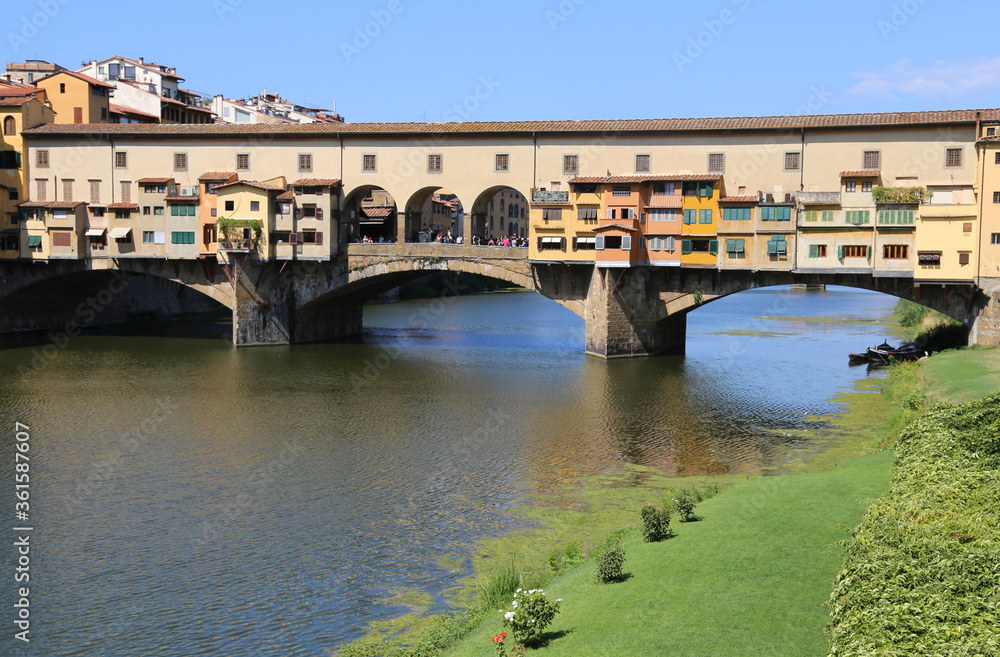 Old Bridge called Ponte Vecchio over Arno River in Tuscany Regio