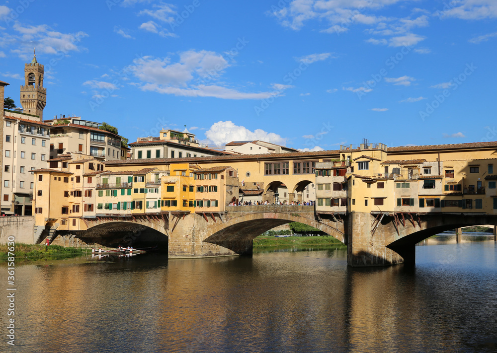 Old Bridge called Ponte Vecchio over Arno River in Florence in I
