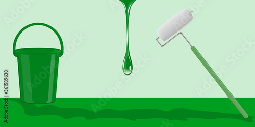 Fototapety, obrazy: DIY home repair. Paint roller, bucket, flowing drop of paint - green background - vector. Banner