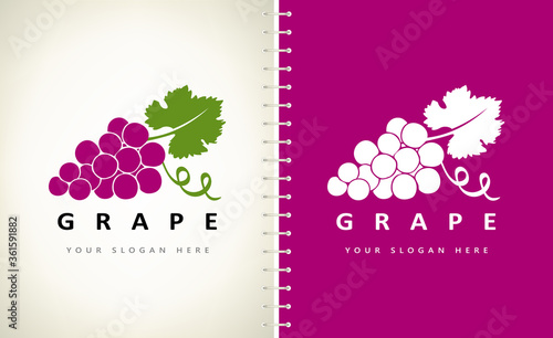 Fototapeta Grape logo bunch berry vector  obraz