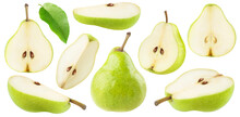 Isolated Cut Green Pear Fruits. Collection Of Green Pear Pieces Of Different Shapes Isolated On White Background