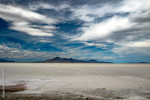 Beautiful view of the land at Bonneville Salt Flats, a popular site near Salt Lake City. #361612225