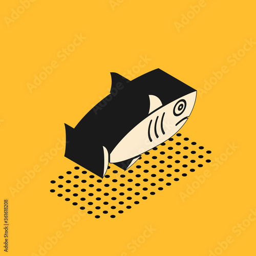 Isometric Shark icon isolated on yellow background. Vector.. Tableau sur Toile