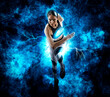 Leinwandbild Motiv Sporty woman running.  lightning effect
