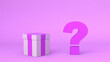 Leinwanddruck Bild - Gift box with question mark next to it on pink background. Surprise box. 3D illustration.