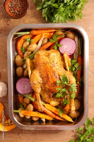 Fototapeta chicken cooked with carrot,pumpkin and potato