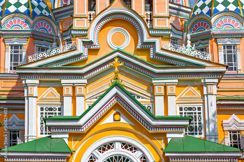 Decorations from the facade of Zenkov Cathedral, Almaty, Kazakhstan Canvas Print