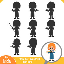 Find The Correct Shadow, Game For Children, Musician Woman And Flute