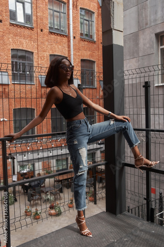 Fashion outdoor portrait at urban location Canvas