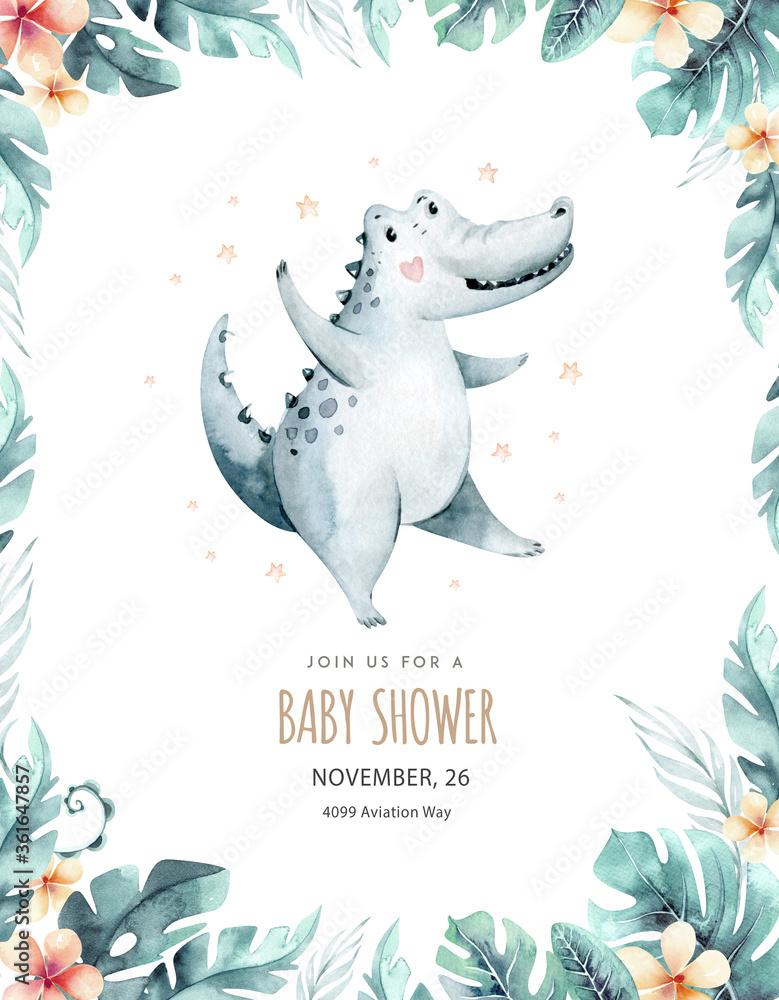 Fototapeta Hand drawn watercolor crocodile dancing animal baby shower. Boho illustrations, jungle tree, brazil trendy art. Perfect for fabric design. Aloha collection.