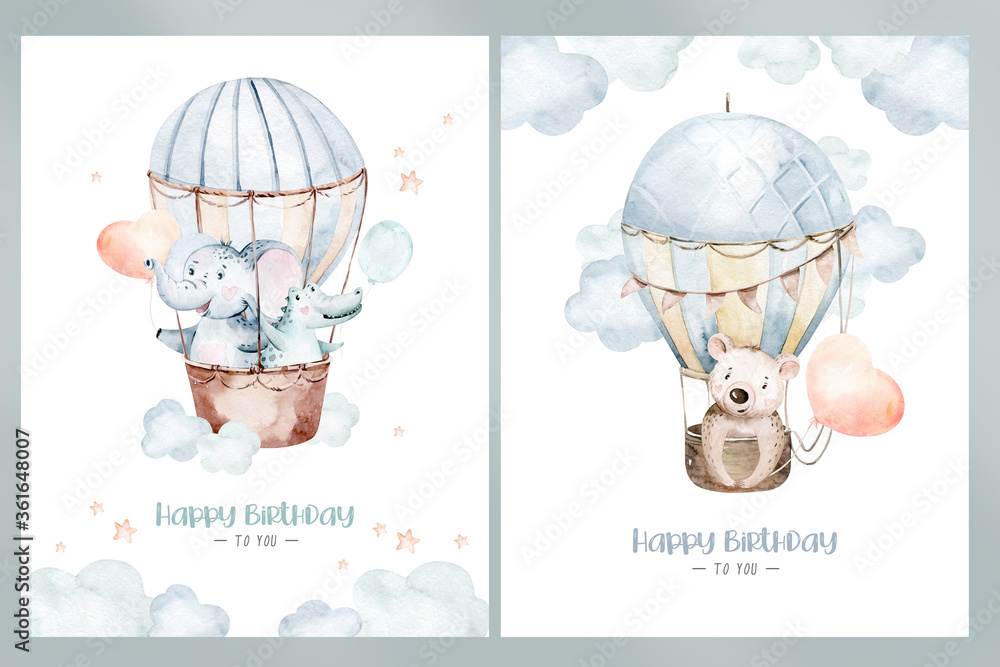Fototapeta Cute cartoon air balloons birthday party illustrations. hand drawn baby shower air balloon. kids nursery wear fashion design, birthday invitation card.