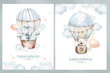 Cute Cartoon Air Balloons Birthday Party Illustrations. Hand Drawn Baby Shower Air Balloon. Kids Nursery Wear Fashion Design, Birthday Invitation Card.