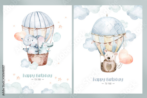 Cute cartoon air balloons birthday party illustrations. hand drawn baby shower air balloon. kids nursery wear fashion design, birthday invitation card. - 361648007