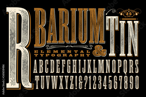 Barium & Tin is an Original Type Design with a Rustic, Old West, or Circus Sign Canvas Print
