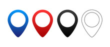 Map Pointer Icons, Vector Illu...
