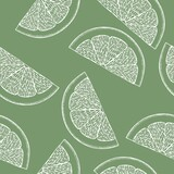 Line art colorful illustration on green backdrop. Abstract lemon pattern for print design. Colorful vector illustration. Vector art. Cute seamless background. Tropical nature seamless pattern. - 361662241