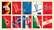 Set Of European Cities Sticker...