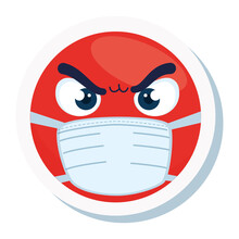 Emoji Angry Wearing Medical Mask, Red Face Wearing White Surgical Mask Icon Vector Illustration Design