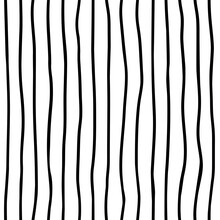 Hand Drawn Ink Stripe Texture. Vector Abstract  Lines Background. Design Seamless Pattern With Vertical Stripes.