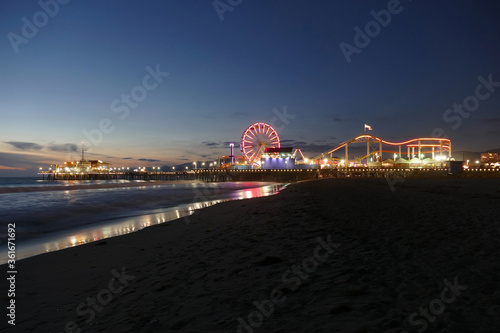 Night view of popular Santa Monica beach and pier in Los Angeles County California. #361671692