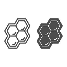 Honeycomb Line And Solid Icon,...
