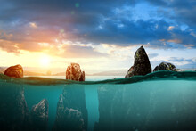 Half Underwater In The Sea A B...