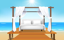 Landscape Outdoor Cabana Bed On The Beach In Day Time
