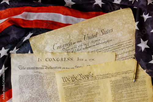 Fototapeta Aged historical documents Washington DC on American Declaration of independence