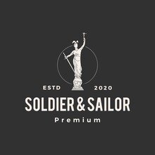 Soldier And Sailor Statue Hipster Vintage Logo Vector Icon Illustration