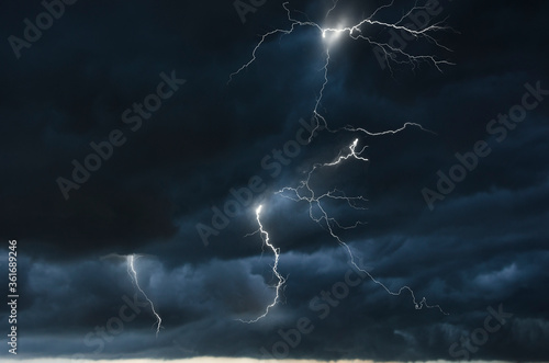 Strong thunder storm in black clouds Canvas