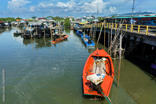 Pier Plee is a port where merchants come to sell fresh seafood as a source of food in Chonburi province Canvas Print