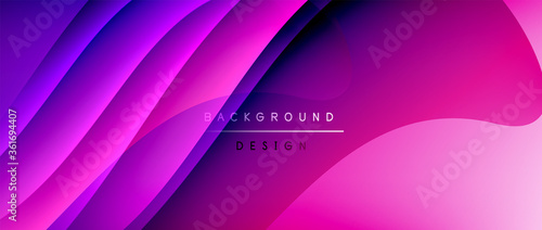 Fluid gradient waves with shadow lines and glowing light effect, modern flowing motion abstract background for cover, placards, poster, banner or flyer - 361694407