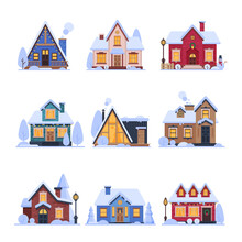 Cute Snowy Suburban Houses Set...