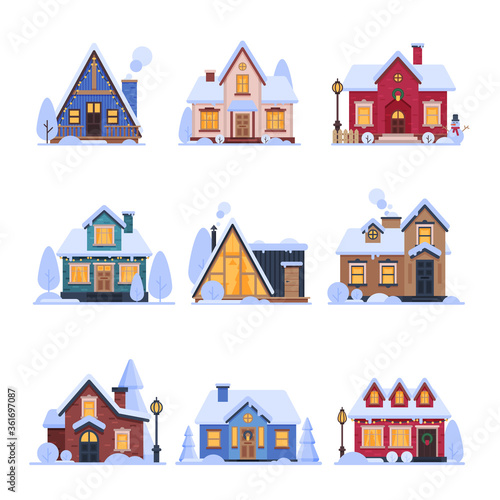 Valokuva Cute Snowy Suburban Houses Set, Rural Cottage Buildings with Glowing Windows Vec