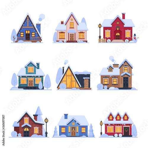 Slika na platnu Cute Snowy Suburban Houses Set, Rural Cottage Buildings with Glowing Windows Vec