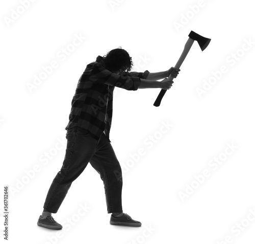 Silhouette of maniac with axe on white background Fototapet
