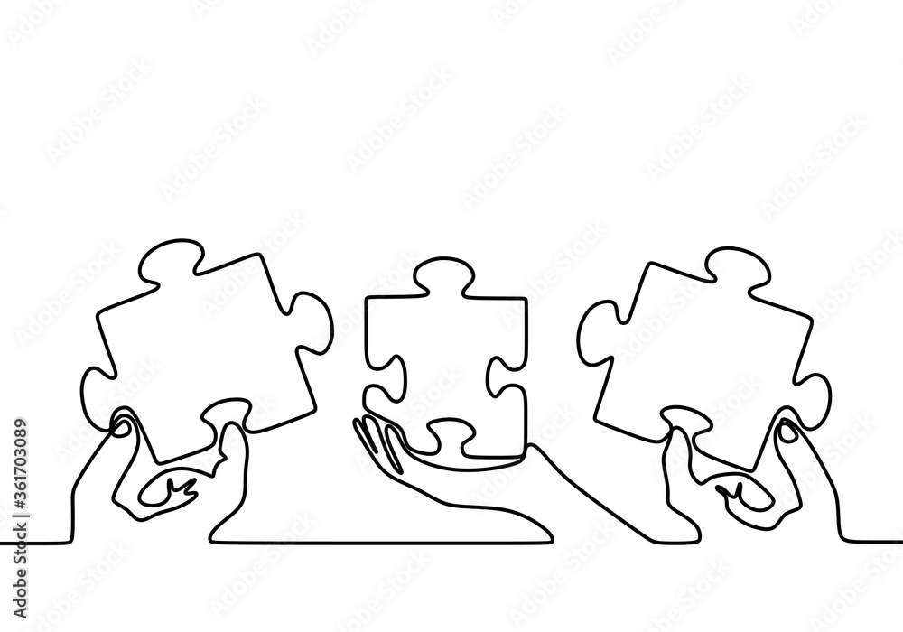Fototapeta One continuous line drawing of three hands holding puzzle pieces to unite them as sign to start business collaboration. Jigsaw wooden puzzle on white background. Concept of connection