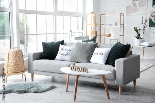 Valokuva Interior of modern room with comfortable sofa