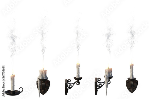 Photo Set of 5 lit candles isolated on white, 3d render.