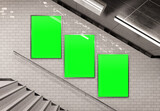 Three vertical billboards on underground stairs wall Mockup. Triptych hoardings advertising in white tiles tunnel interior. 3D rendering