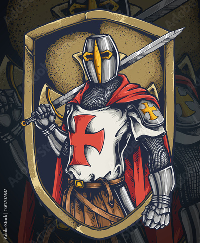Photo Vector illustration of knight templar with a long sword and shield ready for a b