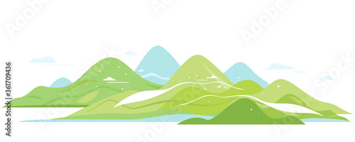 Green hills and mountains in simple geometric forms view from afar isolated comp Canvas Print