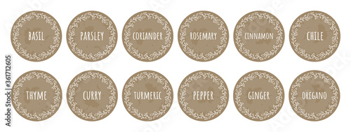 Fototapeta Cardboard food labels or stickers. It can be used for marking kitchen food containers with spices. Labels, stickers, craft decals, floral frame and spice name in English obraz